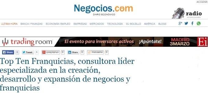 """Negocios.com destaca la """"gran proyección y aceptación"""" de Top Ten Franquicias"""